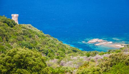 genoese: Cupabia bay and ancient coastal Genoese Campanella tower, Corsica island, France Stock Photo