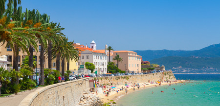 Ajaccio, Corsica, Frankrijk. Coastal stadsgezicht panorama