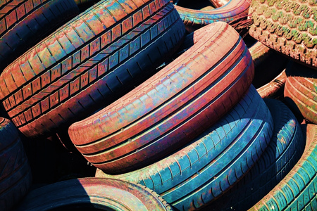 wornout: Heap of old colorful worn-out automotive tires