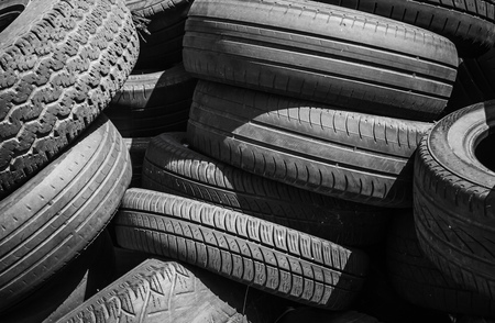 wornout: Heap of old used worn-out tires