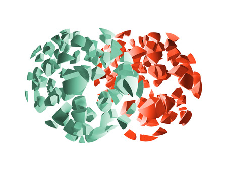 fragments: Red and green 3d explosion spheres fragments isolated on white background