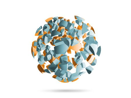 blue sphere: Explosion sphere light blue and yellow 3d fragments isolated on white background