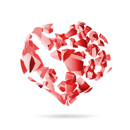 fragments: Broken heart, red explosion fragments isolated on white background, 3d render
