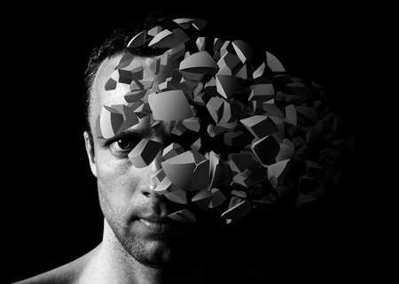 male face: Caucasian young man creative portrait with 3d explosion fragments on black background Stock Photo