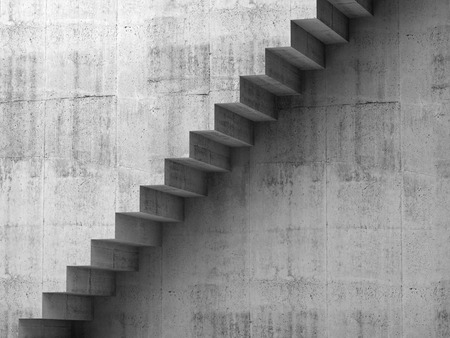 architecture abstract: Gray concrete stairway on the wall, 3d interior background, digital graphic illustration