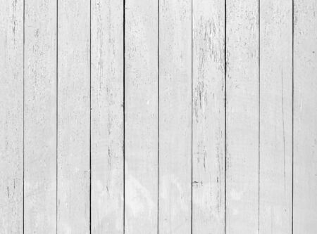Old white wooden wall with cracked paint, detailed background photo texture Standard-Bild