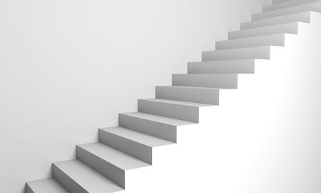 bajando escaleras: Fondo abstracto arquitectura, escaleras 3d blancas en la pared Foto de archivo