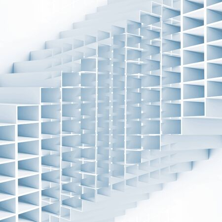 blue cells: Abstract geometric square pattern. 3d blue cells high-tech structure on white background