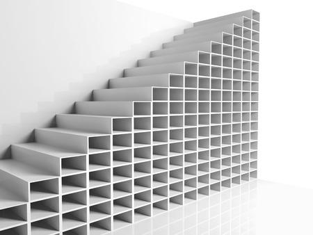 bajando escaleras: Fondo de arquitectura abstracta, blanco 3d interior con estantes celulares, ilustraci�n gr�fica digital