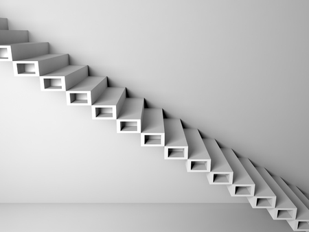 bajando escaleras: Abstract architecture background, cantilevered stairs construction on white wall, 3d interior illustration Foto de archivo