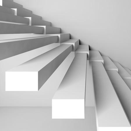 bajando escaleras: Resumen de fondo la arquitectura cuadrada, construcci�n escaleras en la pared blanca, 3d ilustraci�n interior