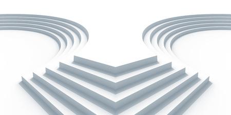 arquitectura abstracta: Fondo la arquitectura abstracta con escaleras curvas blancas. 3d ilustraci�n