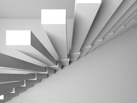 stairs interior: Abstract architecture background, stairs construction on white wall, 3d interior illustration
