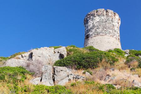 genoese: Tour Parata. Ancient Genoese tower near Ajaccio, Corsica, France Stock Photo
