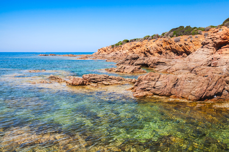 Coastal landscape with empty rocky wild beach, South Corsica, France. Plage De Capo Di Feno