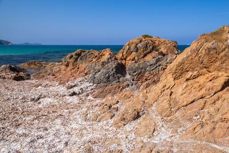 Dry algae on rocky Mediterranean coast. South region of Corsica island, France. Plage De Capo Di Feno landscape