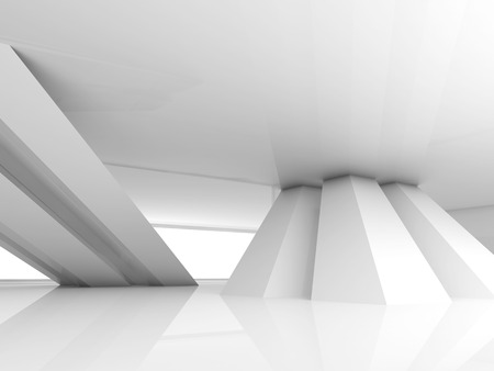 inclined: Abstract empty white room interior with inclined columns and window, 3d render illustration