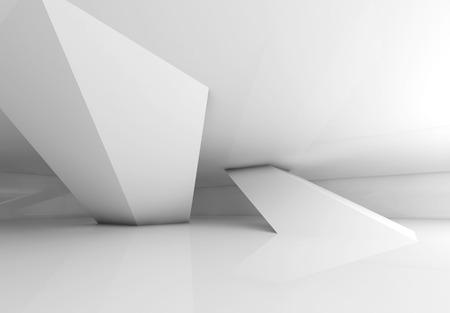 Abstracte lege witte kamer interieur met hellende kolommen en zachte schaduwen, 3D render illustratie