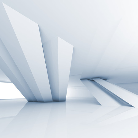 inclined: Abstract empty white room interior with inclined columns and blue shadows, 3d render illustration