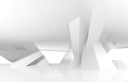Abstract white digital architecture background, 3d render illustration