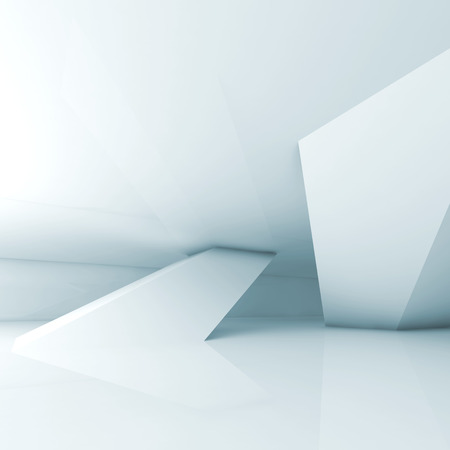 3 d レンダリング図傾斜の列を持つ抽象空ライト ブルー ・ ルーム インテリア