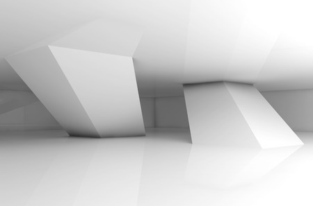 Abstract empty white room interior, inclined columns and soft shadows, 3d render illustration