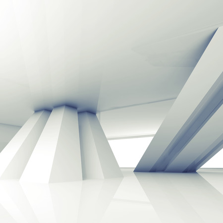 inclined: Abstract empty white room interior with inclined columns, 3d render illustration with blue tonal filter Stock Photo
