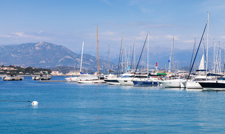 motorboats: Sailing yachts and motorboats moored in marina of Ajaccio, Corsica island, France Stock Photo