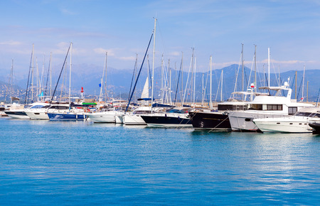 motorboats: Sailing yachts and pleasure motorboats moored in marina of Ajaccio, Corsica island, France Stock Photo