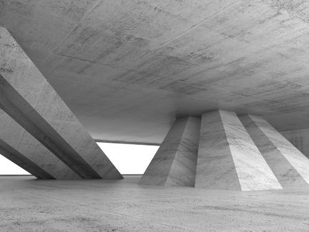 Abstrakt leer konkrete Interieur mit geneigten Säulen und Fenster, 3D Render-Abbildung