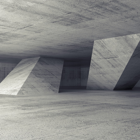 Abstract empty concrete room interior with inclined columns, 3d render illustration, square background
