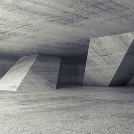 concrete: Interior de la sala de hormigón vacío abstracto con columnas inclinadas, 3d ilustración, fondo cuadrado