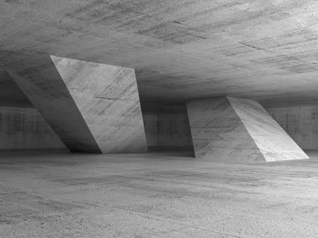 Abstract dark empty concrete room interior with inclined columns, 3d render illustration
