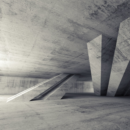 Abstract empty concrete room interior with inclined columns and window, square 3d render illustration