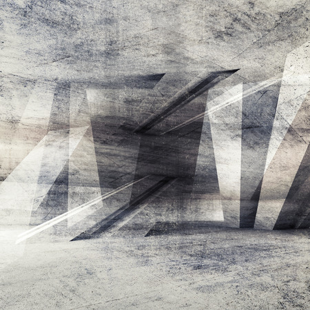 architecture design: Abstract grungy concrete wall background with chaotic structure pattern. 3d render illustration, concrete texture Stock Photo