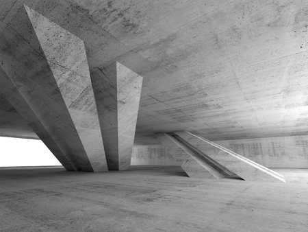 Abstract empty concrete room interior with inclined columns and window, 3d render illustration Banque d'images