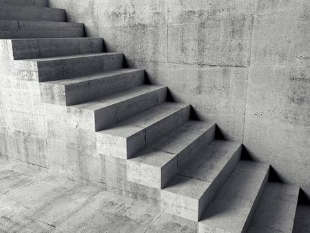 stairs interior: Abstract concrete interior fragment, cantilevered stairs on the wall, 3d illustration