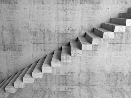 concrete stairs: Abstract concrete interior fragment, cantilevered stairs on the wall, digital 3d illustration