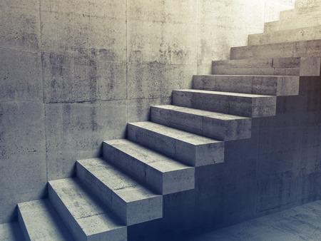 bajando escaleras: Interior de concreto abstracto, construcci�n escaleras en voladizo en la pared, ilustraci�n 3d