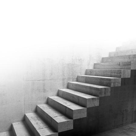 concrete: Resumen fragmento del interior hormigón, la construcción en voladizo escaleras en la pared, ilustración 3d Foto de archivo