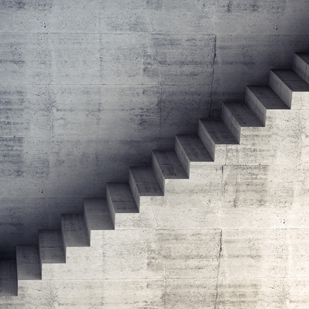 concrete stairs: Stairs on the wall, abstract concrete architecture, square 3d interior background, digital graphic illustration