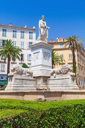 bonaparte: Ajaccio, France - July 7, 2015: Statue of Napoleon Bonaparte in Roman garb, historical center of Ajaccio, Corsica