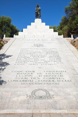 bonaparte: Ajaccio, France - July 7, 2015: Memorial with statue of Napoleon Bonaparte on the top, Ajaccio, island of Corsica, France