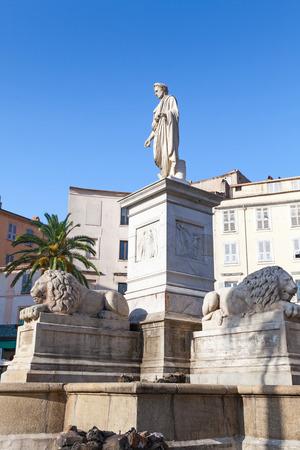 bonaparte: Ajaccio, France - July 7, 2015: Statue of Napoleon Bonaparte in Roman garb, historical center of Ajaccio. Corsica, France