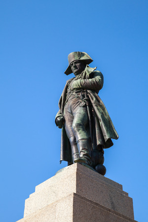 austerlitz: Ajaccio, France - July 7, 2015: Napoleon Bonaparte as First imperator of France. Statue in Ajaccio, island of Corsica Editorial