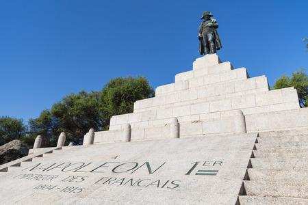 austerlitz: Ajaccio, France - July 7, 2015: Memorial with statue of Napoleon Bonaparte as First emperor of France, Ajaccio, island of Corsica