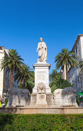 bonaparte: Ajaccio, France - July 7, 2015: Statue of Napoleon Bonaparte in Roman garb, historical center of Ajaccio city