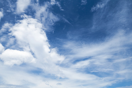altocumulus: Cirrus, cumulus and altocumulus. Bright blue sky with different types of clouds, natural background photo