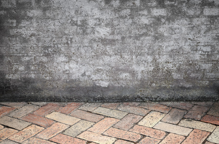 stone floor: Empty Interior background texture with dark ancient gray stone wall and floor made of red bricks