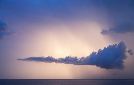 colorful cloudscape: Dramatic colorful cloudscape over Mediterranean sea, summer morning sky background